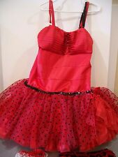 adult halloween costume minnie mouse betty boop can can girl 1X XL handmade red