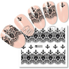 Nail Art Water Decals Transfers Stickers Black Lace Garter Flowers Leaves A655