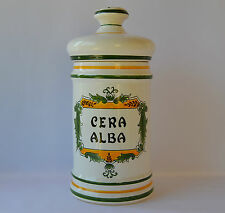 French Vintage Apothecary Pharmacy Jar, Clamecy Roger Colas Faience Cera Alba