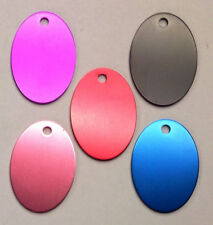 100 OVAL Pet identification tags Anodized Aluminum Blank Bulk ID Wholesale LASER