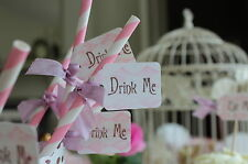 PAPER STRAWS WITH  DRINK ME TAGS-Birthday-Wedding-Garden Party-Pink & White