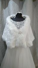 Soft Ivory Faux Fur Wrap Wedding Bolero Shawl Jacket Shrug Bride Bridesmaids