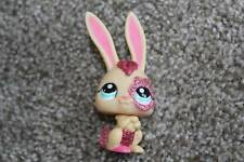 Littlest Pet Shop Peach Glitter Bunny #2147 Pink Rabbit Teal Eyes LPS TOY RARE