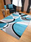 Teal Blue Silver Black Grey Modern Soft Thick Rugs Small Extra Large Mats Cheap