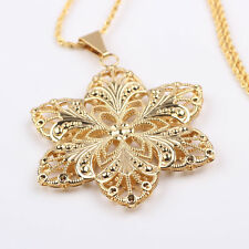 Pure 24k Yellow Gold Filled Elegant Lily Pendant & necklace Wedding jewelry 20g