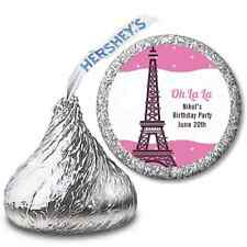 Eiffel Tower Paris - Personalized Hershey Kiss Birthday Party Sticker Labels