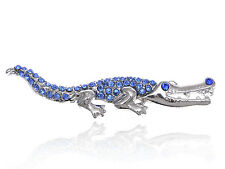 Sapphire Blue Rhinestone Shiny Silver Tone Crocodile Alligator Animal Pin Brooch
