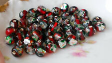 #629 Vintage Glass Beads Ruby Foil Givre Round 7mm Faceted Silver CZECH NOS