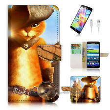 Samsung Galaxy S5 Flip Wallet Case Cover! P0737 Puss in Boots Cat