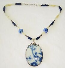 Vtg Chinese Costume Bead Necklace w 925 Silver Set Ming B&W Chard Pendant (EsFh)