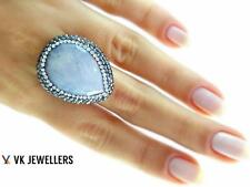 Turkish Handmade 925 Sterling Silver Jewelry Natural Moonstone Druzy Ring C69