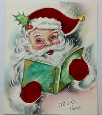 UNUSED Santa Claus with Book Flocked Vintage Mid-Century Christmas Card B111