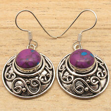 Natural PURPLE COPPER TURQUOISE Gems Vintage Jewelry Earrings 925 Silver Filled