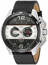 Diesel Ironside Mens Chronograph Watch Black Dial Black Leather DZ4361