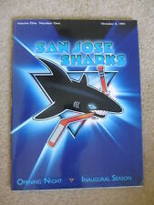San Jose Sharks 91 Inaugural Opening Night Program