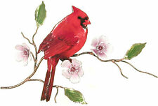 Cardinal Bird on Cherry Blossom Metal Wall Art Decor Sculpture by Bovano #W4450