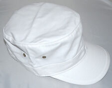 Solid Adjustable BDU Style Washed GI Military Cadet Castro Cap-white