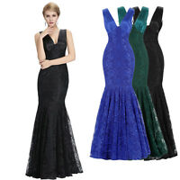 Long MERMAID LACE Formal Party Evening Formal Ball Gown Prom Bridesmaid Dresses+