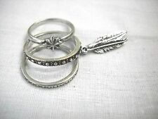 NEW SET DOUBLE FEATHER DANGLE - STAR - TEXTURED BAND STYLE RING USA SZ 7.5 - 8