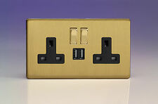 Varilight 2-Gang 13A Double Pole Switched Plug Socket with Metal Rockers + 2 5V