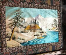 Antique 19th Century Japanese+Chinese  Landscape Embroidery Panel