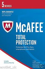 Mcafee total protection 2017 5 utilisateurs/pc internet security 10 windows & mac new