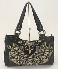 Isabella Fiore Black Cream Textured Leather Embroidered Stones Charm Purse (B79)