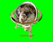 "Finest collector model, 14"" Tall DAY N NITE Ocean Gemstone Globe W Gold Stand"