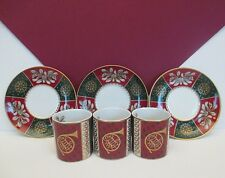 3 Demitasse Christmas Cups and Saucers from Neiman Marcus, Signed