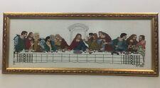 Needlepoint Jesus Last Supper Cross Stitch Framed Dated 1988 26 X 11 Religion