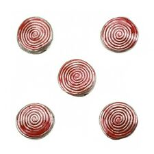 Enamelled Hypnotic Swirl Red Round Metal Bead 19mm Pack of 5 (E86/1)