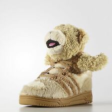 Adidas ObyO JS Jeremy Scott Bear Fur S77810 Teddy Fleece Tan kids Shoes  Size 9K