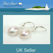Large Freshwater White Baroque Pearl Lever Back Earrings 12-13mm - Pearl Island