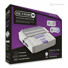 RetroN 2 2 in1 Super Nintendo SNES & NES Retro Video Game Twin Console - Grey