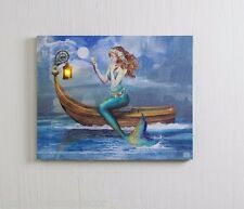 Mermaid on Boat lighted picture by Radiance Lighted Canvas 12558 NEW