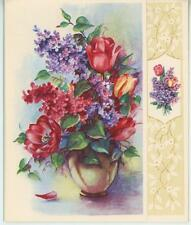 VINTAGE PURPLE PINK RED LILACS TULIP  PRINT 1 COUNTRY VILLAGE FLOWER GARDEN CARD