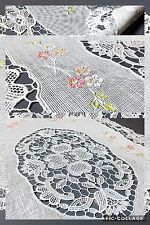 """Vinyl Lace Placemats Two Plastic White Floral 2 Oval 18""""x12"""" Set Christmas Gift"""