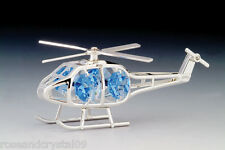 HELICOPTER~SILVER PLATED FIGURINE MADE WITH BEST~*~AUSTRIAN CRYSTALS~*~