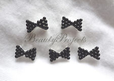 (5pcs) nail art black 3D pearl bow charm rhinestone charms acrylic nails gel A60