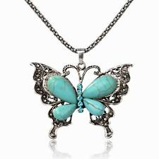 Fashion Turquoise Diamante Crystal Butterfly Bib Charm Jewelry Pendant Necklace