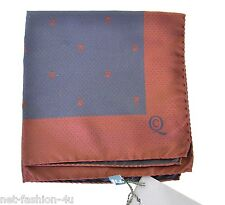 ALEXANDER McQUEEN SKULL POCKET SQUARE HANDKERCHIEF BNWT BROWN AND NAVY