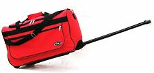 """21"""" 40LB CAP. RED ROLLING WHEELED DUFFLE BAG CARRY ON SUITCASE RETRACT HANDLE"""