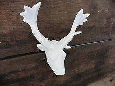 GEOMETRIC WHITE DEER KNOB DRAWER PULL  ~ Man Cave Hunting Modern Home Decor