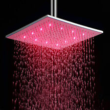Stainless Steel Rainfall Shower Head 12 Inch Bathroom Square LED Shower