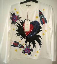 Dixie Sweatshirt size Small sequins space heart sweet rocket ships new with tags