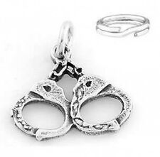 "STERLING SILVER  ""HANDCUFFS"" CHARM WITH SPLIT RING"