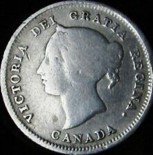1880-H VG Details Damaged Canada Silver 5 Cents - KM# 2 - Free Shipping