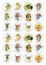 24 VINTAGE ANGELS CUPCAKE TOPPER WAFER RICE EDIBLE FAIRY CAKE BUN TOPPERS