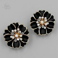 18K Gold Plated GP Pearl Clear Crystal Rhinestone Stud Earrings 362 Black Flower