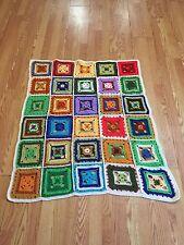 Retro Granny Square Bright Multi-Color Lap Blanket Throw White Border Crochet